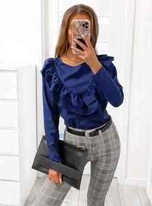 Niebieska bluzka Pakuten z żabotem