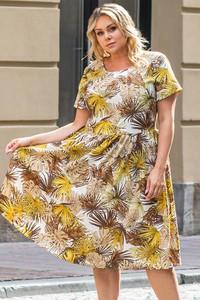 Sukienka KARKO maxi dla puszystych z krótkim rękawem