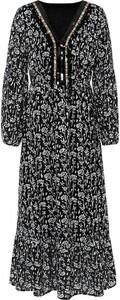Sukienka bonprix z długim rękawem maxi z dekoltem w kształcie litery v