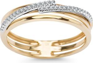 YES Złoty pierścionek z diamentami