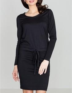 Czarna sukienka LENITIF w stylu casual mini z długim rękawem