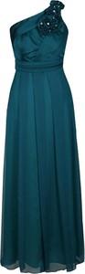 Zielona sukienka Fokus rozkloszowana z asymetrycznym dekoltem maxi