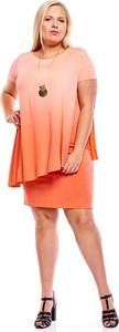 Sukienka Fokus dla puszystych mini z okrągłym dekoltem