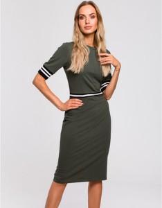 Zielona sukienka MOE ołówkowa midi