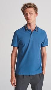 Niebieska koszulka polo Reserved z krótkim rękawem