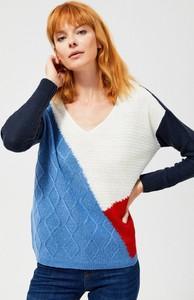 Sweter Moodo z moheru w stylu casual w geometryczne wzory
