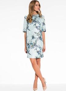 Niebieska sukienka L'AF z żakardu mini
