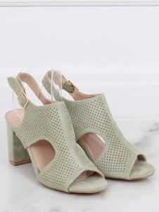 Zielone sandały Buty Damskie z zamszu