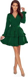 Zielona sukienka NUMOCO mini z długim rękawem