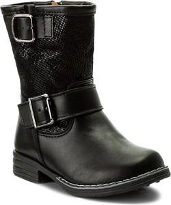 Czarne buty dziecięce zimowe renbut z tworzywa sztucznego dla dziewczynek