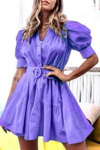 Fioletowa sukienka IVET z krótkim rękawem mini