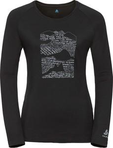 Czarny t-shirt ODLO z okrągłym dekoltem z wełny