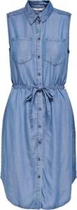 Niebieska sukienka Only koszulowa z kołnierzykiem bez rękawów