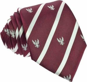Fioletowy krawat republic of ties z jedwabiu z nadrukiem