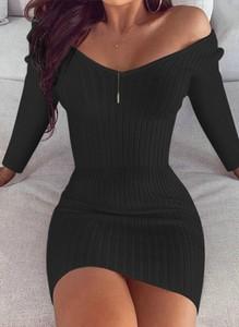 Czarna sukienka Cikelly z dresówki z dekoltem w łódkę w stylu casual