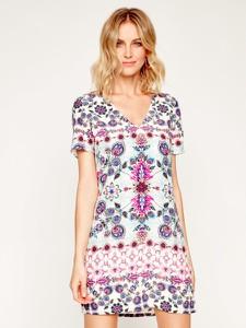 Sukienka Desigual z krótkim rękawem z dekoltem w kształcie litery v