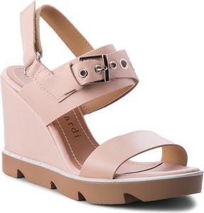 Różowe sandały Sergio Bardi w stylu casual ze skóry ekologicznej na wysokim obcasie