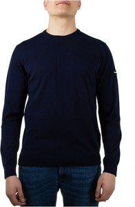 Niebieski sweter Emporio Armani z dżerseju z okrągłym dekoltem