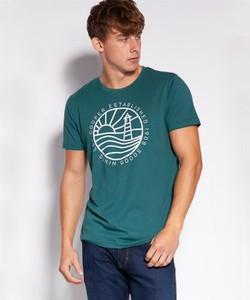 Zielony t-shirt Lee Cooper w młodzieżowym stylu z bawełny z nadrukiem
