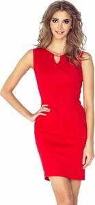 Sukienka Moda Dla Ciebie z dekoltem w kształcie litery v bez rękawów dopasowana