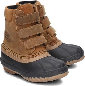 Brązowe buty dziecięce zimowe Sorel z nubuku na rzepy