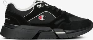 Czarne buty sportowe Champion ze skóry w sportowym stylu sznurowane