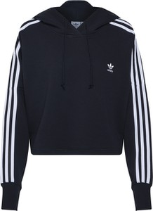 Granatowa bluza Adidas Originals w stylu casual krótka z dresówki