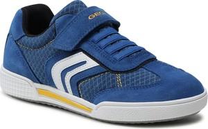 Granatowe buty sportowe dziecięce Geox na rzepy z zamszu