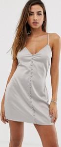 Srebrna sukienka Missguided z dekoltem w kształcie litery v mini