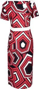 Sukienka Fokus z krótkim rękawem midi dopasowana