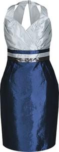 Granatowa sukienka Fokus bombka midi z długim rękawem