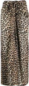 Brązowa spódnica Ganni z jedwabiu midi w stylu casual