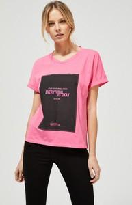 T-shirt Moodo z bawełny z okrągłym dekoltem