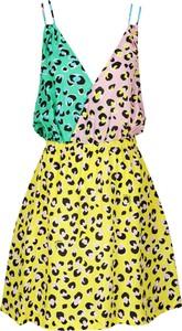 Sukienka Love Moschino na ramiączkach rozkloszowana z dekoltem w kształcie litery v