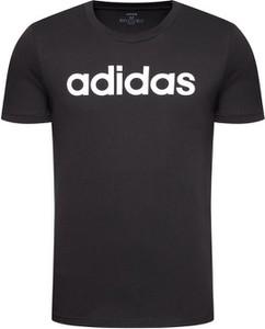 Czarny t-shirt Adidas z bawełny z krótkim rękawem w sportowym stylu