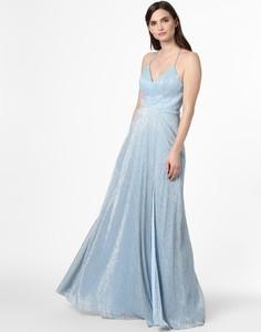 Niebieska sukienka Marie Lund rozkloszowana z szyfonu
