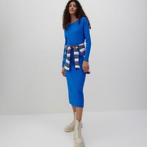 Niebieska sukienka Reserved w stylu casual z długim rękawem midi