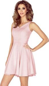 Różowa sukienka MORIMIA mini z dekoltem w kształcie litery v rozkloszowana
