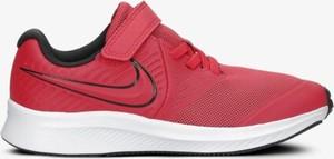 Czerwone buty sportowe dziecięce Nike ze skóry sznurowane