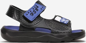 Czarne buty dziecięce letnie Multu na rzepy ze skóry