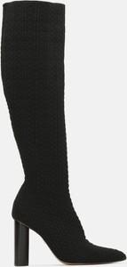 Czarne kozaki Kazar na obcasie na zamek przed kolano