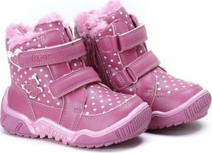 Różowe buty dziecięce zimowe Royalfashion.pl na rzepy dla dziewczynek