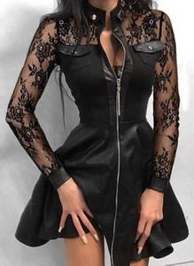 Czarna sukienka Cikelly sportowa z golfem z długim rękawem