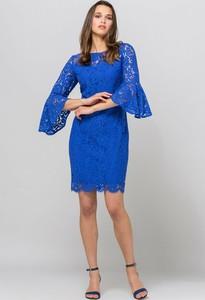 Niebieska sukienka Monnari z bawełny z długim rękawem mini