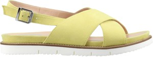 Żółte sandały Conhpol Woman ze skóry z płaską podeszwą z klamrami