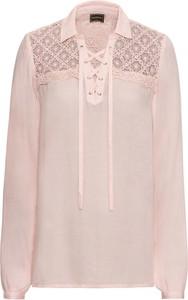 Różowa bluzka bonprix RAINBOW ze sznurowanym dekoltem z długim rękawem