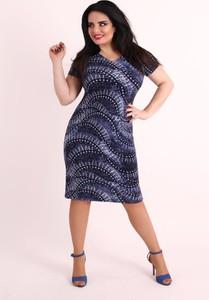 Granatowa sukienka Oscar Fashion z okrągłym dekoltem z krótkim rękawem prosta