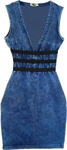 Niebieska sukienka Chiara Poland z jeansu mini