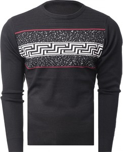 Czarny sweter Risardi w młodzieżowym stylu z okrągłym dekoltem
