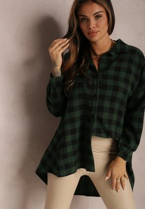 Zielona koszula Renee w stylu casual z kołnierzykiem z długim rękawem